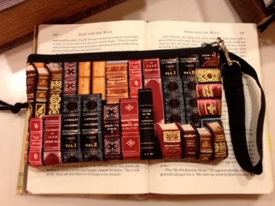 Antique Book wristlet purse