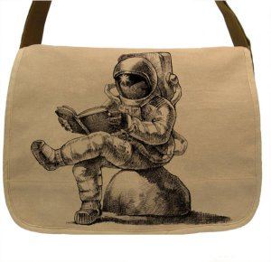 astronaut reading bag