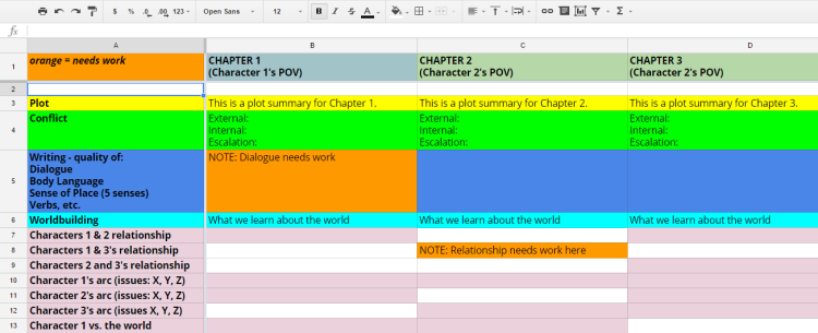 chapter spreadsheet template